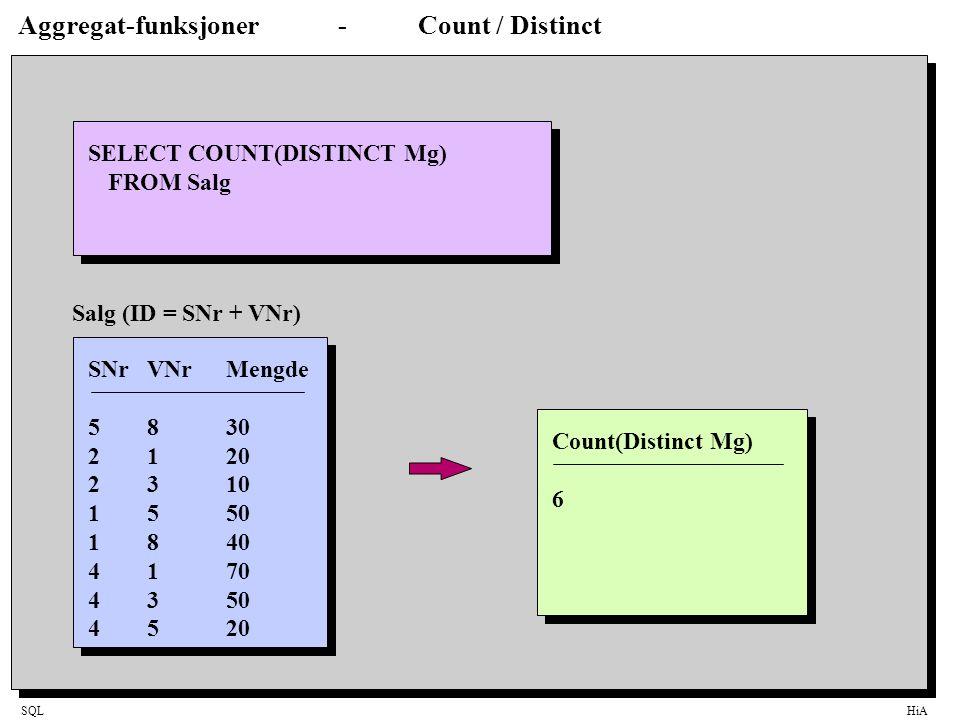 Aggregat-funksjoner - Count / Distinct