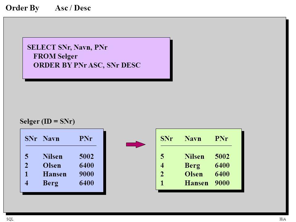 Order By Asc / Desc SELECT SNr, Navn, PNr FROM Selger