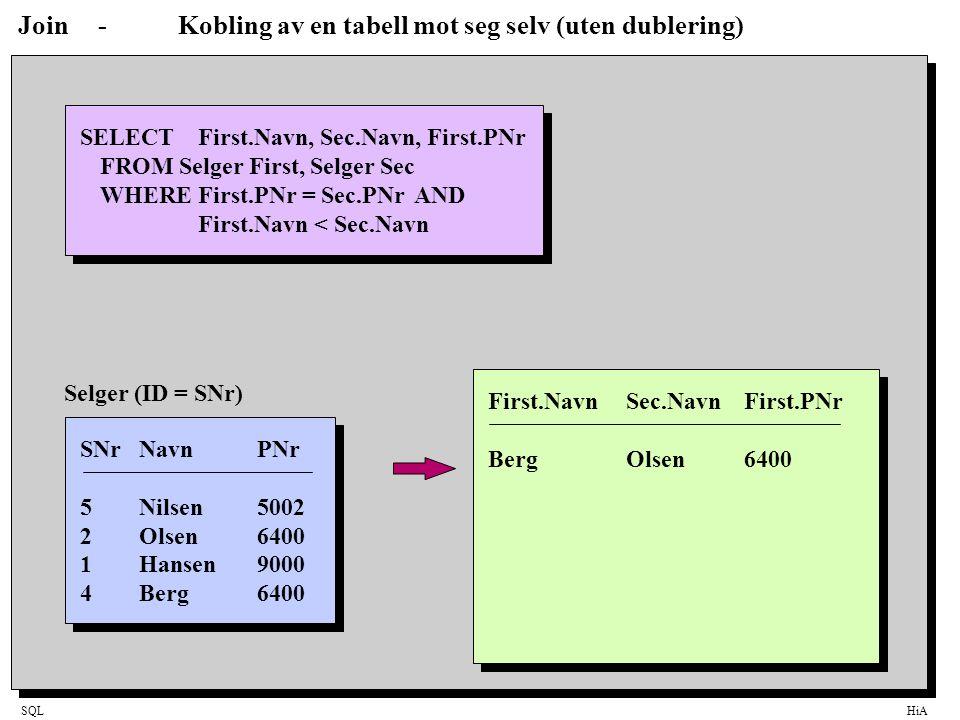 Join - Kobling av en tabell mot seg selv (uten dublering)