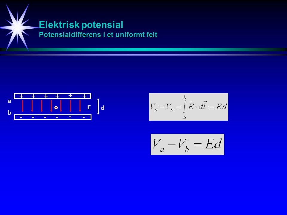 Elektrisk potensial Potensialdifferens i et uniformt felt