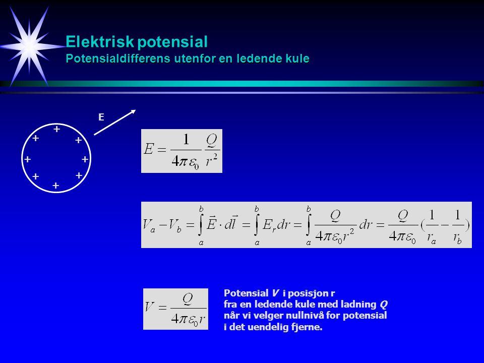 Elektrisk potensial Potensialdifferens utenfor en ledende kule