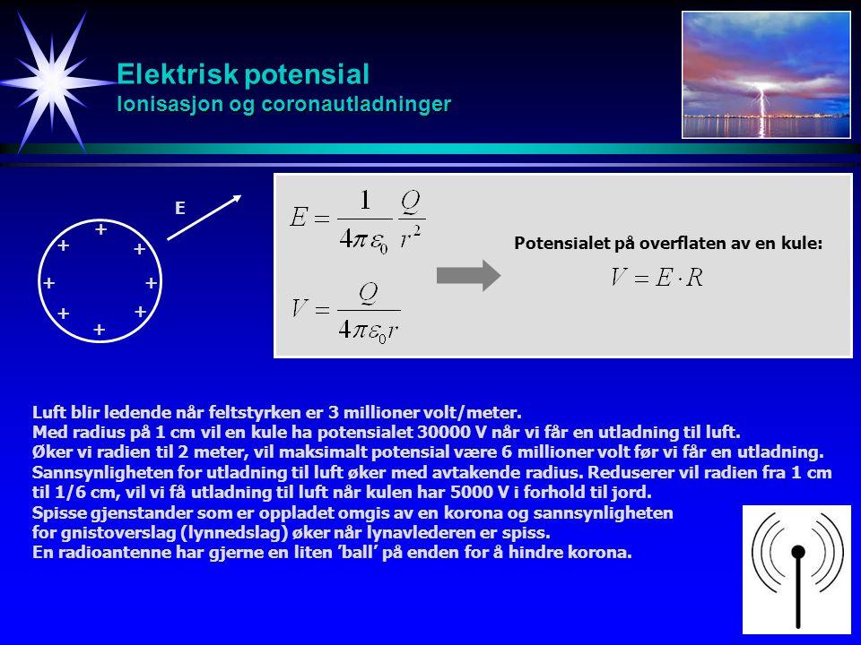 Elektrisk potensial Ionisasjon og coronautladninger