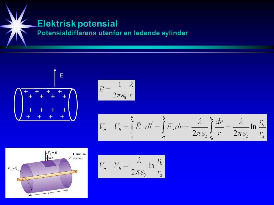 Elektrisk potensial Potensialdifferens utenfor en ledende sylinder