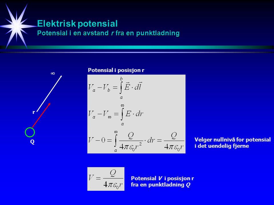 Elektrisk potensial Potensial i en avstand r fra en punktladning