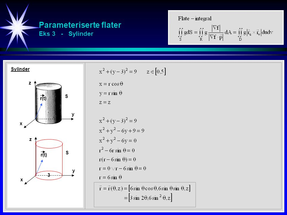 Parameteriserte flater Eks 3 - Sylinder