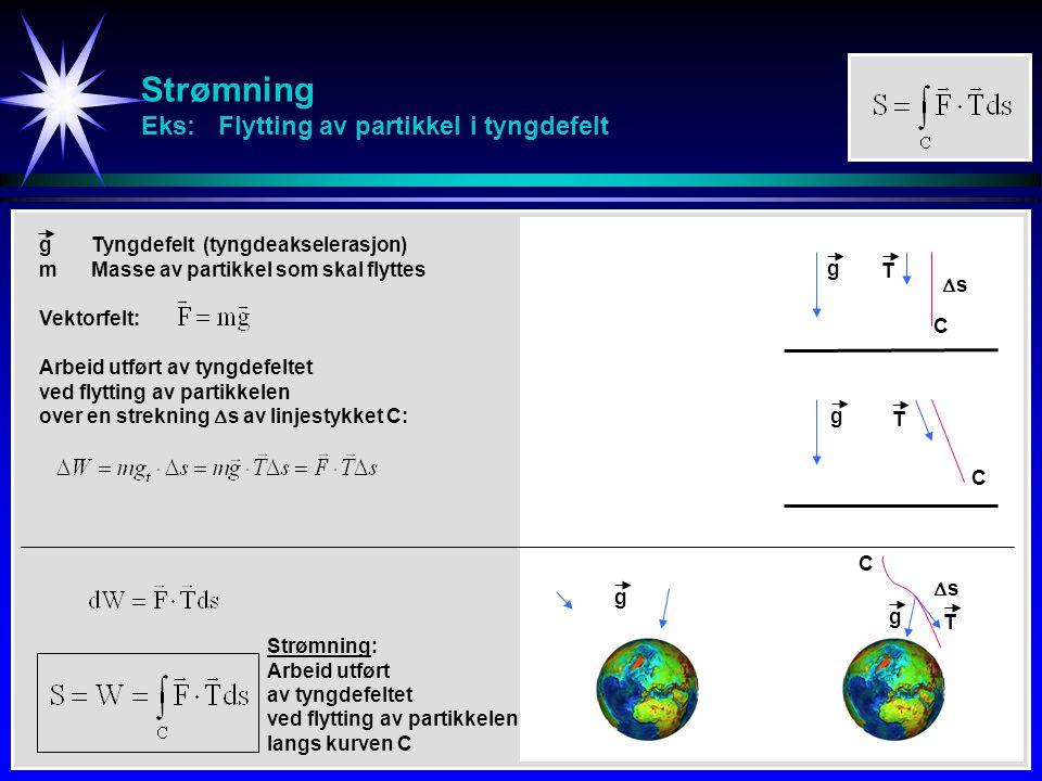 Strømning Eks: Flytting av partikkel i tyngdefelt