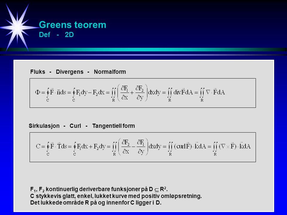 Greens teorem Def - 2D Fluks - Divergens - Normalform