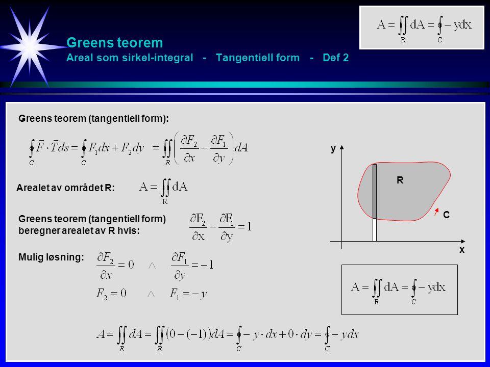 Greens teorem Areal som sirkel-integral - Tangentiell form - Def 2