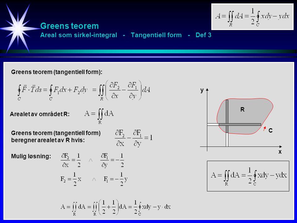 Greens teorem Areal som sirkel-integral - Tangentiell form - Def 3