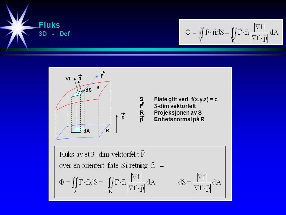 Fluks 3D - Def S Flate gitt ved f(x,y,z) = c F 3-dim vektorfelt