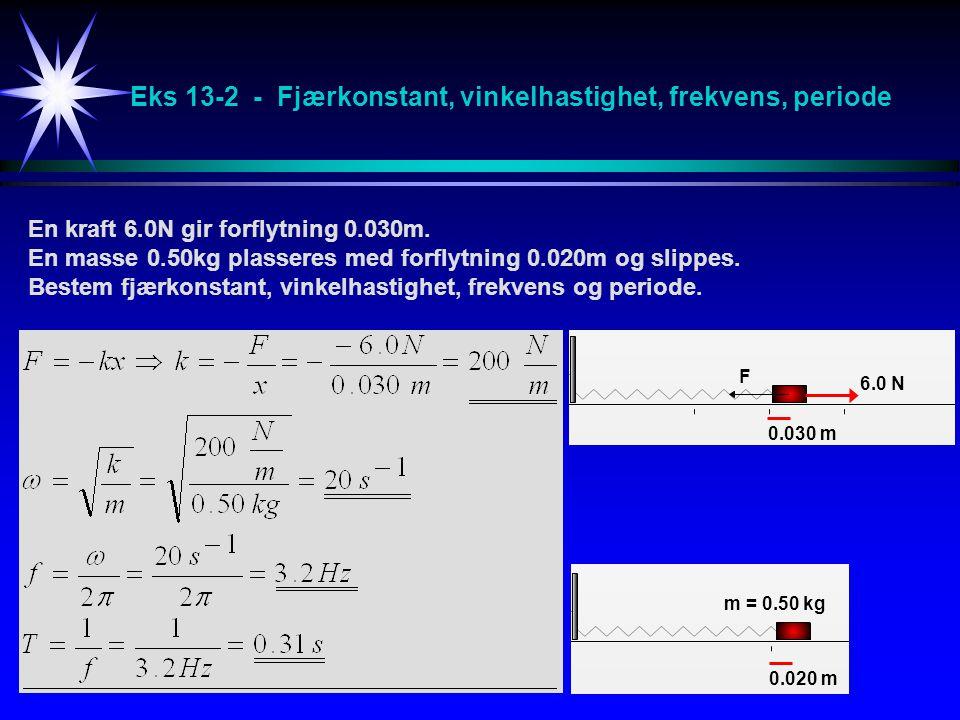 Eks 13-2 - Fjærkonstant, vinkelhastighet, frekvens, periode