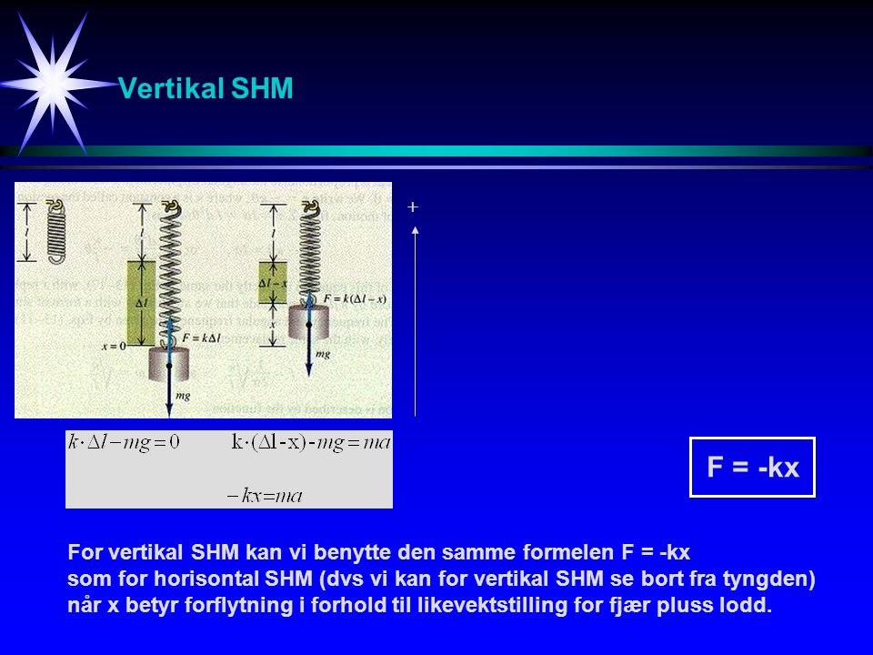Vertikal SHM + F = -kx. For vertikal SHM kan vi benytte den samme formelen F = -kx.