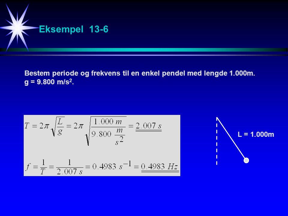 Eksempel 13-6 Bestem periode og frekvens til en enkel pendel med lengde 1.000m.