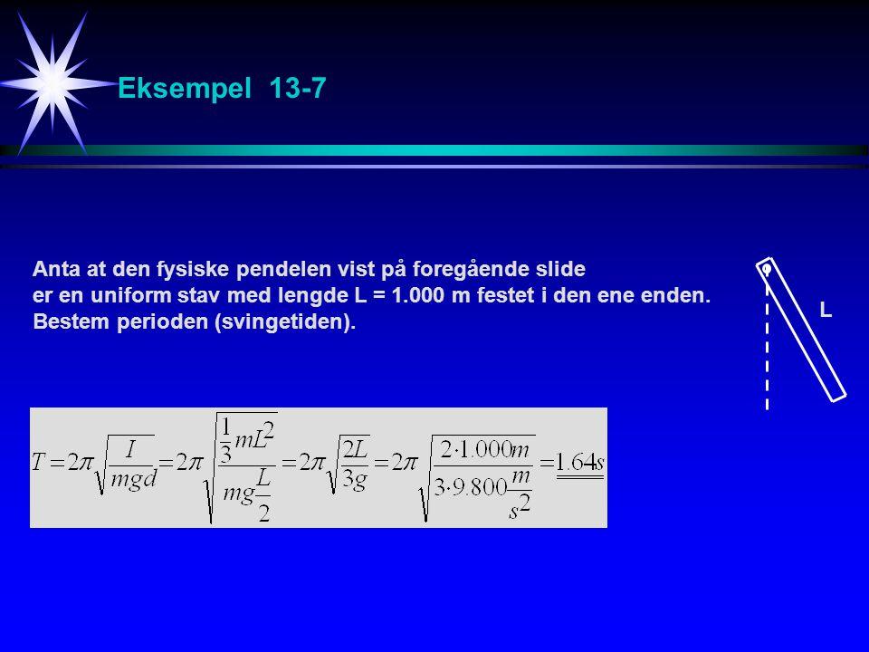 Eksempel 13-7 Anta at den fysiske pendelen vist på foregående slide