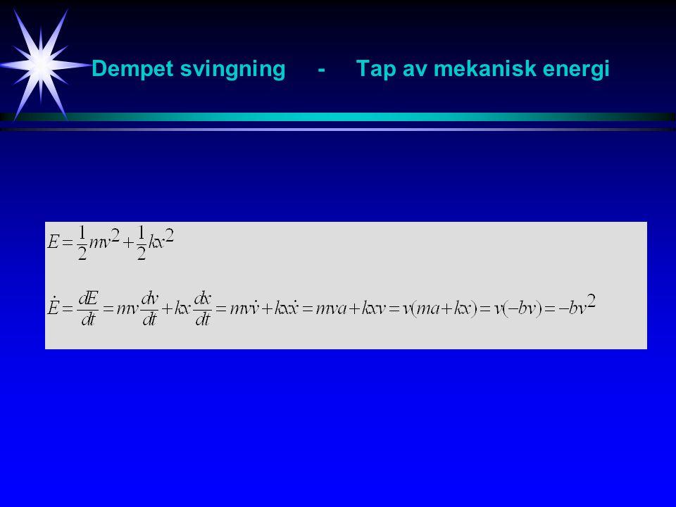 Dempet svingning - Tap av mekanisk energi