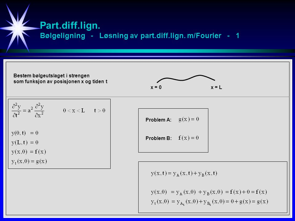 Part. diff. lign. Bølgeligning - Løsning av part. diff. lign
