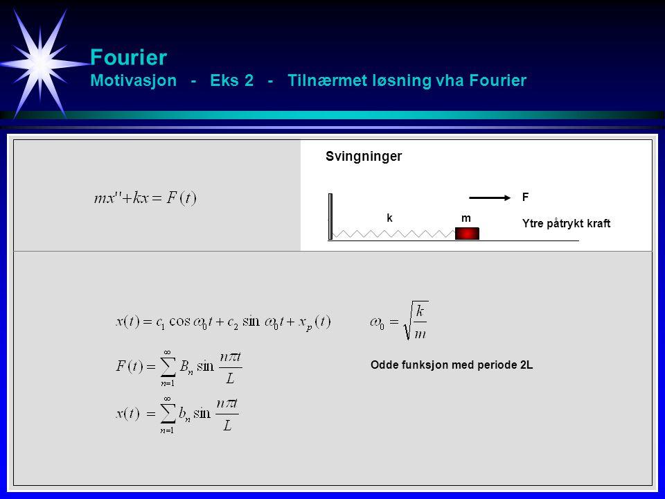 Fourier Motivasjon - Eks 2 - Tilnærmet løsning vha Fourier