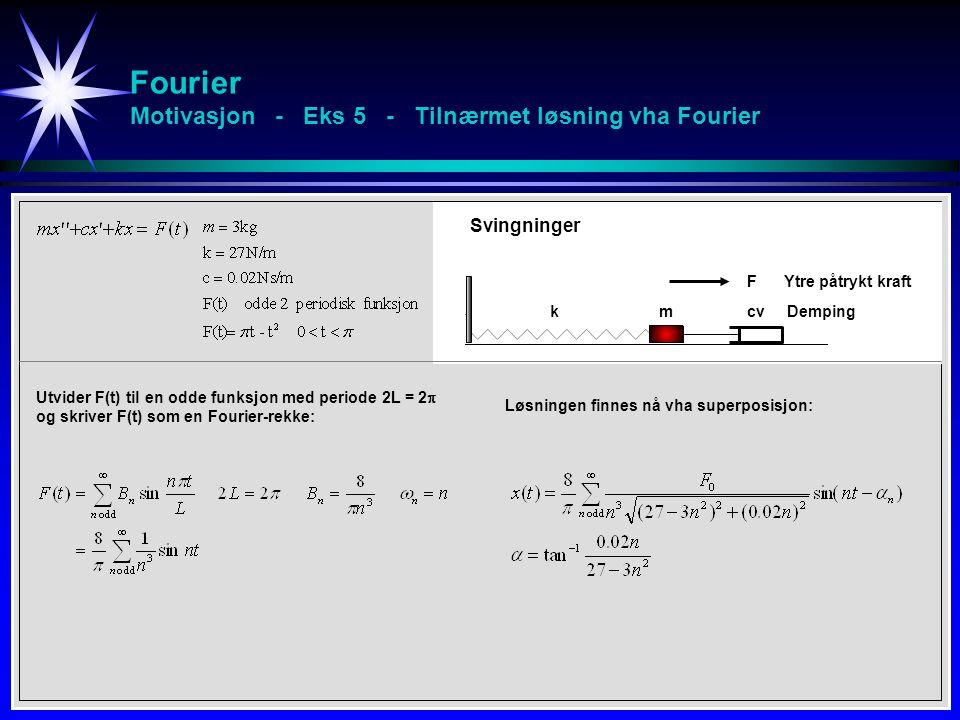 Fourier Motivasjon - Eks 5 - Tilnærmet løsning vha Fourier