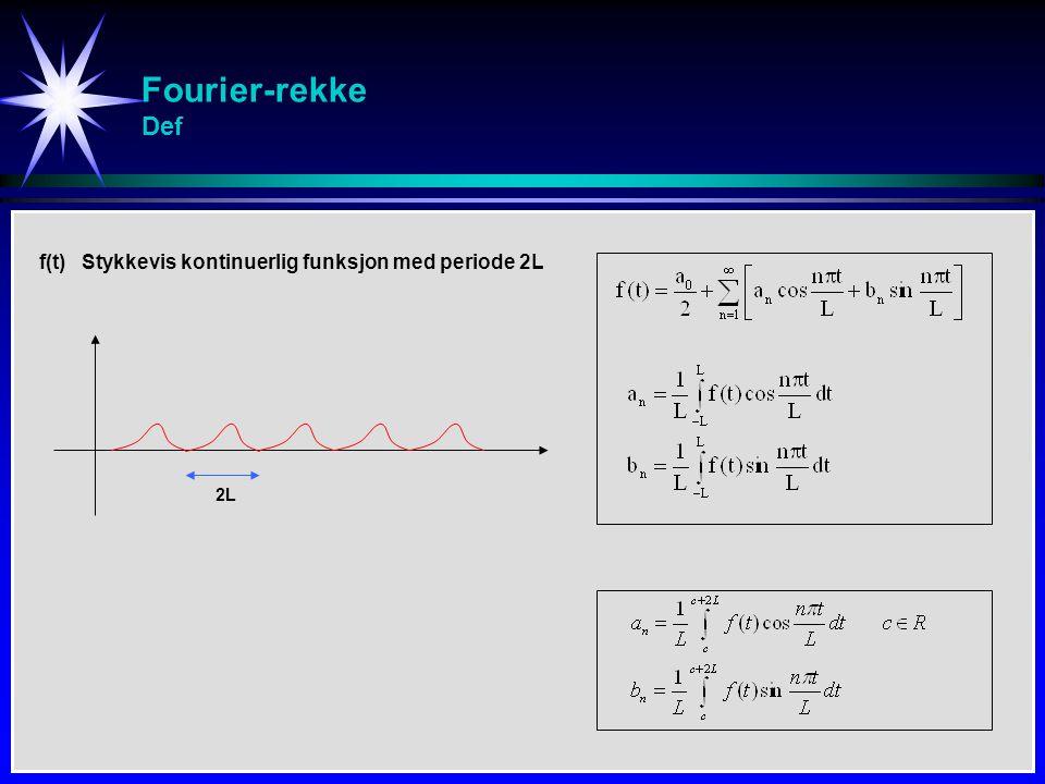 Fourier-rekke Def f(t) Stykkevis kontinuerlig funksjon med periode 2L