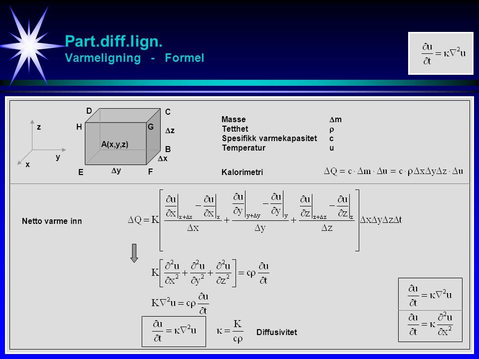 Part.diff.lign. Varmeligning - Formel