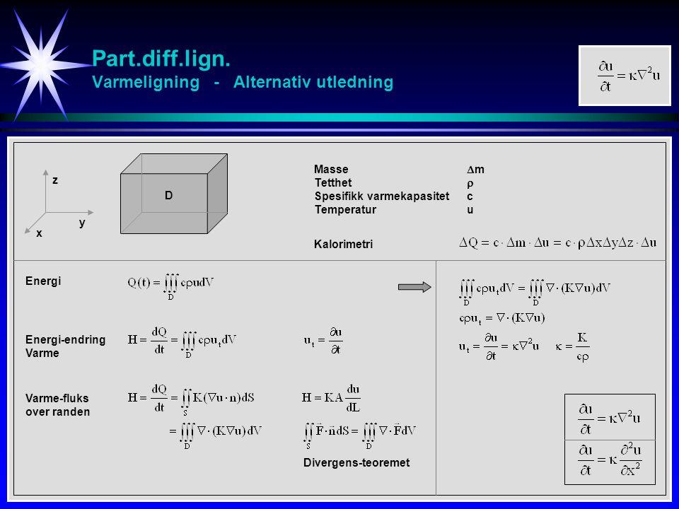 Part.diff.lign. Varmeligning - Alternativ utledning