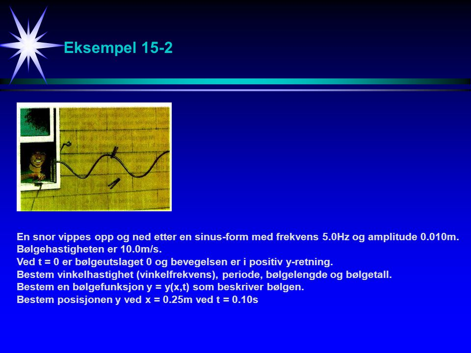 Eksempel 15-2 En snor vippes opp og ned etter en sinus-form med frekvens 5.0Hz og amplitude 0.010m.