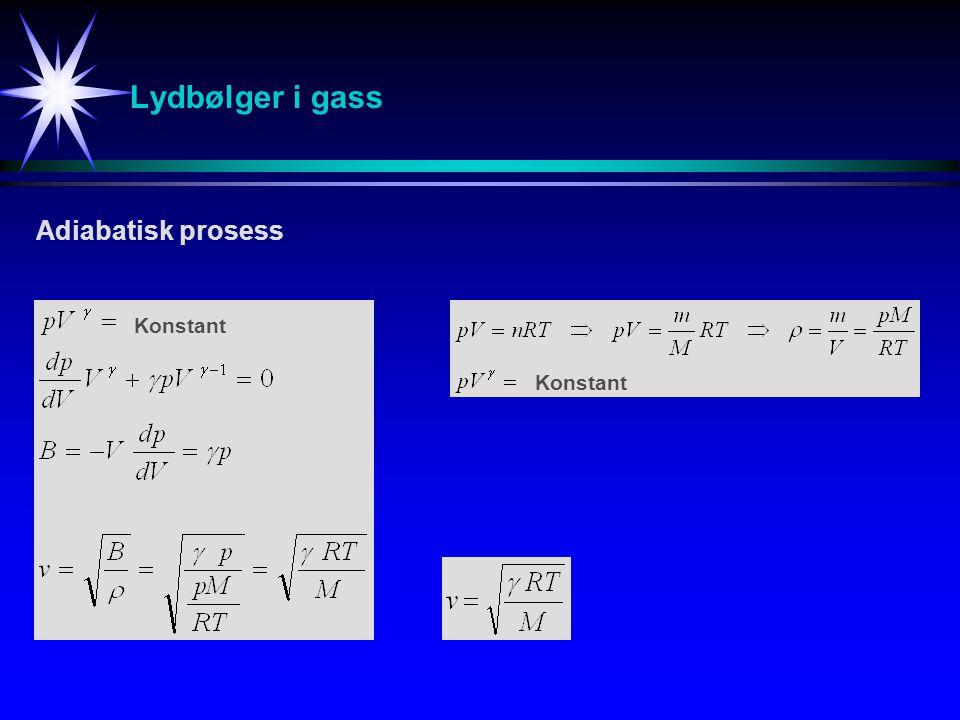 Lydbølger i gass Adiabatisk prosess Konstant Konstant