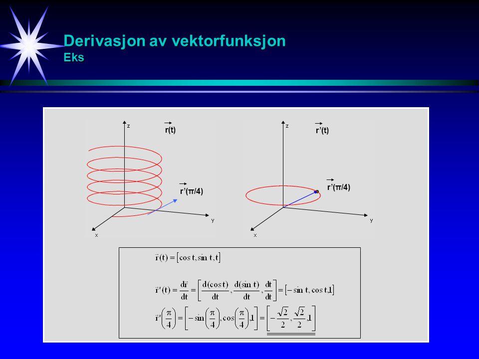 Derivasjon av vektorfunksjon Eks
