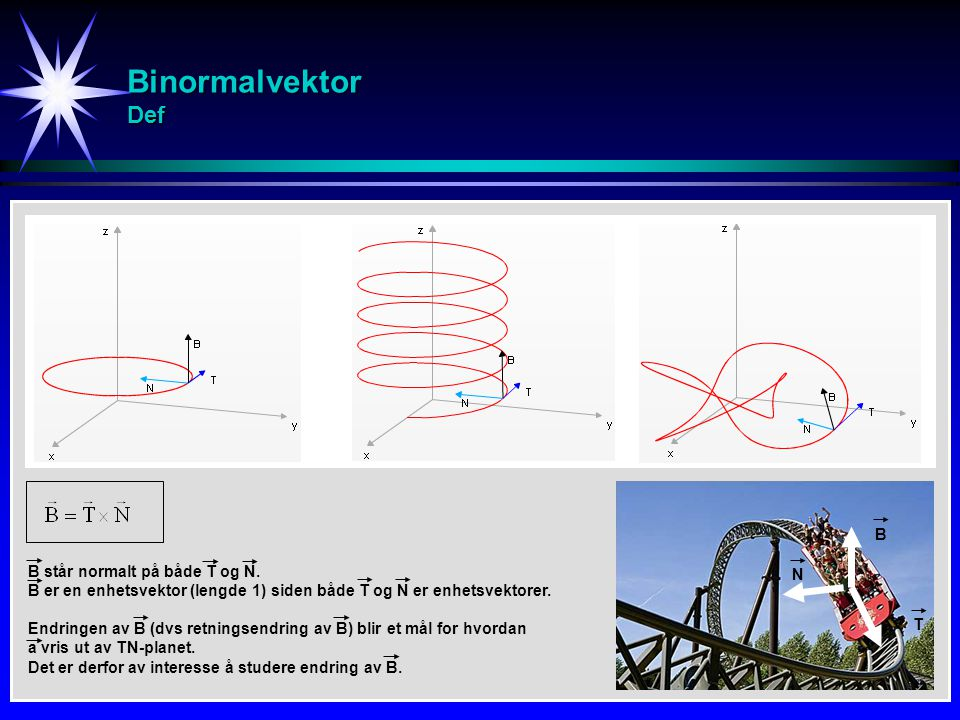 Binormalvektor Def B B står normalt på både T og N. N