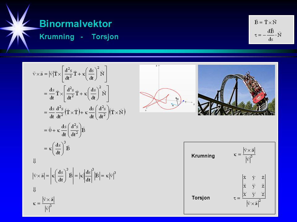 Binormalvektor Krumning - Torsjon
