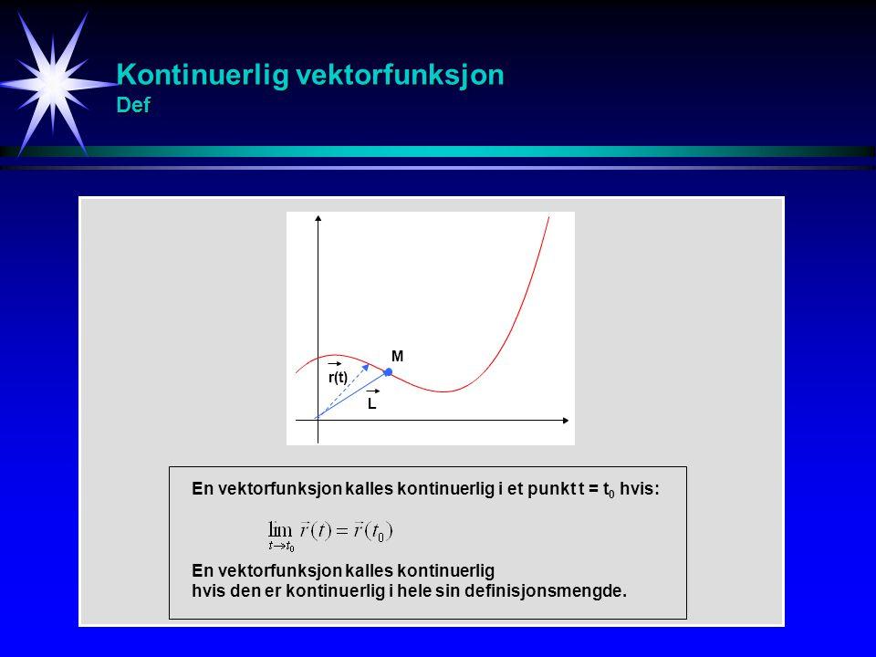 Kontinuerlig vektorfunksjon Def