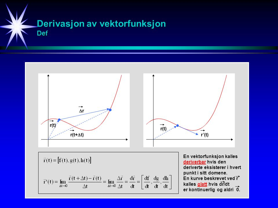 Derivasjon av vektorfunksjon Def