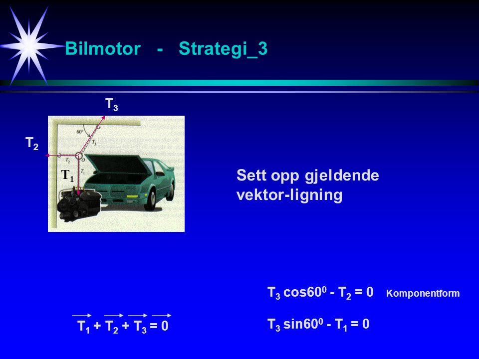 Bilmotor - Strategi_3 Sett opp gjeldende vektor-ligning T3 T2 T1