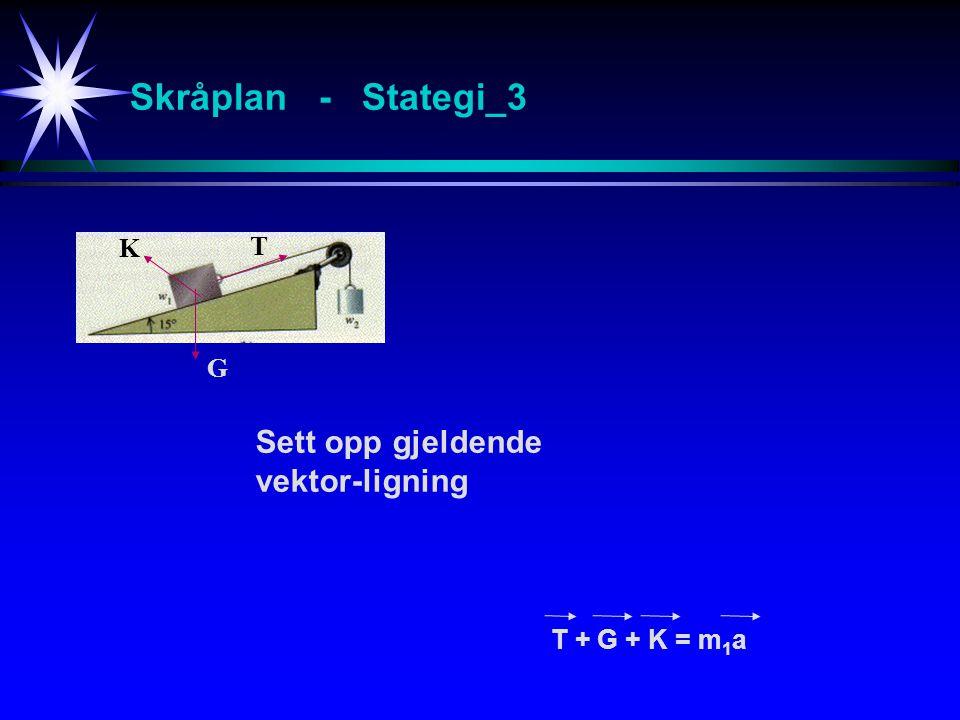 Skråplan - Stategi_3 Sett opp gjeldende vektor-ligning K T G