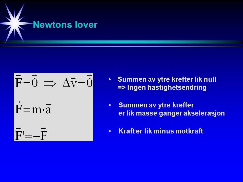 Newtons lover Summen av ytre krefter lik null => Ingen hastighetsendring. Summen av ytre krefter er lik masse ganger akselerasjon.