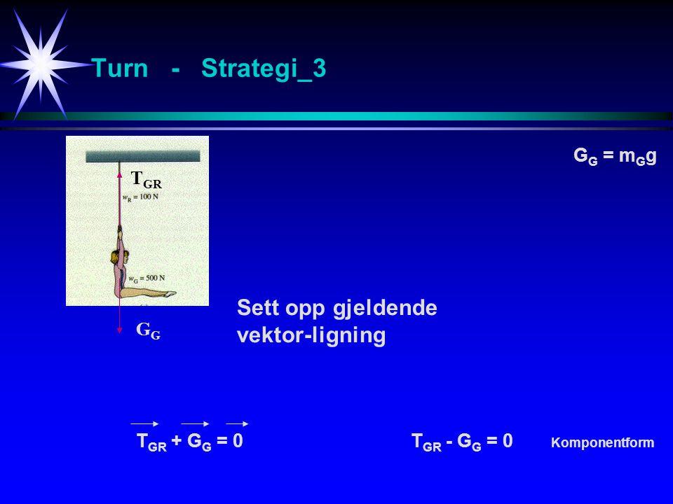 Turn - Strategi_3 Sett opp gjeldende vektor-ligning GG = mGg TGR GG