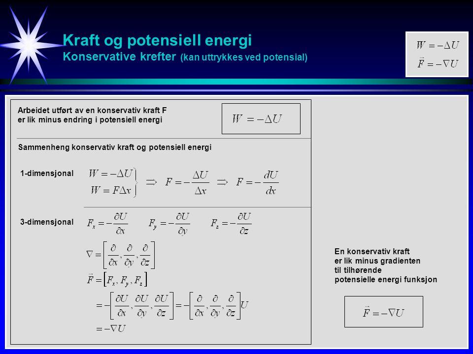 Kraft og potensiell energi Konservative krefter (kan uttrykkes ved potensial)