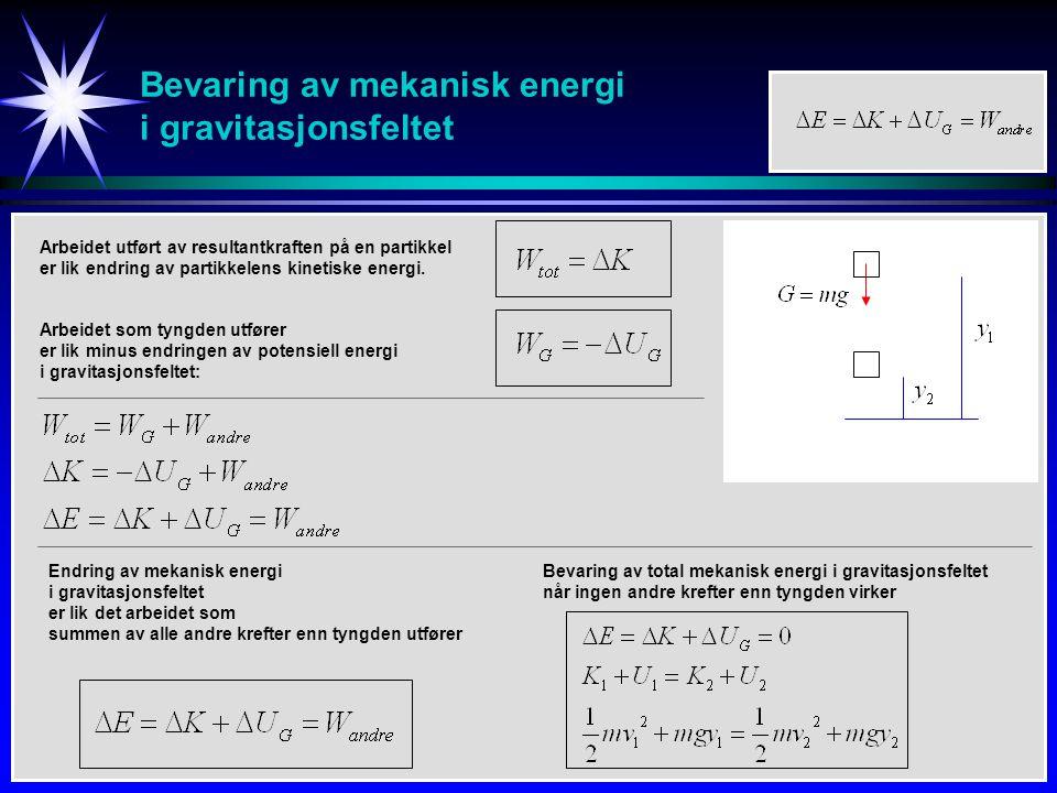 Bevaring av mekanisk energi i gravitasjonsfeltet