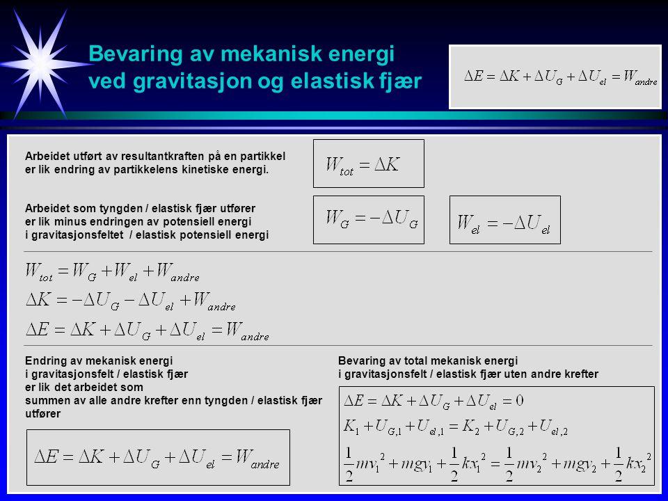 Bevaring av mekanisk energi ved gravitasjon og elastisk fjær