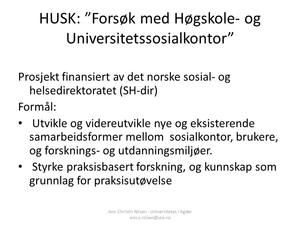 HUSK: Forsøk med Høgskole- og Universitetssosialkontor