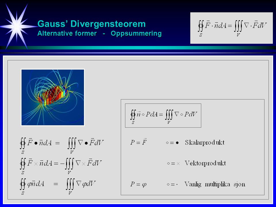 Gauss' Divergensteorem Alternative former - Oppsummering