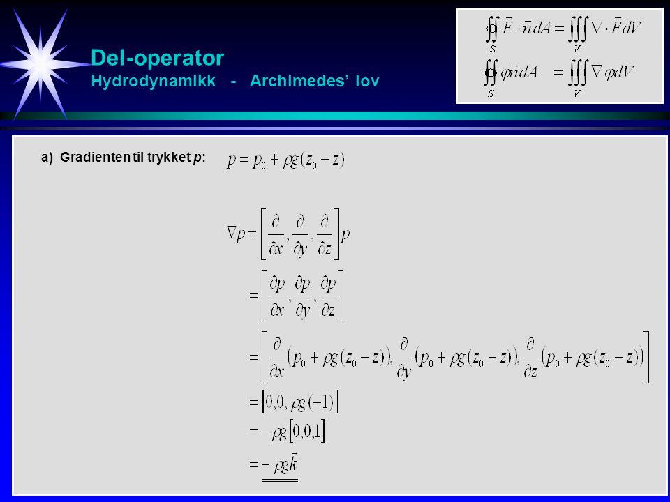 Del-operator Hydrodynamikk - Archimedes' lov