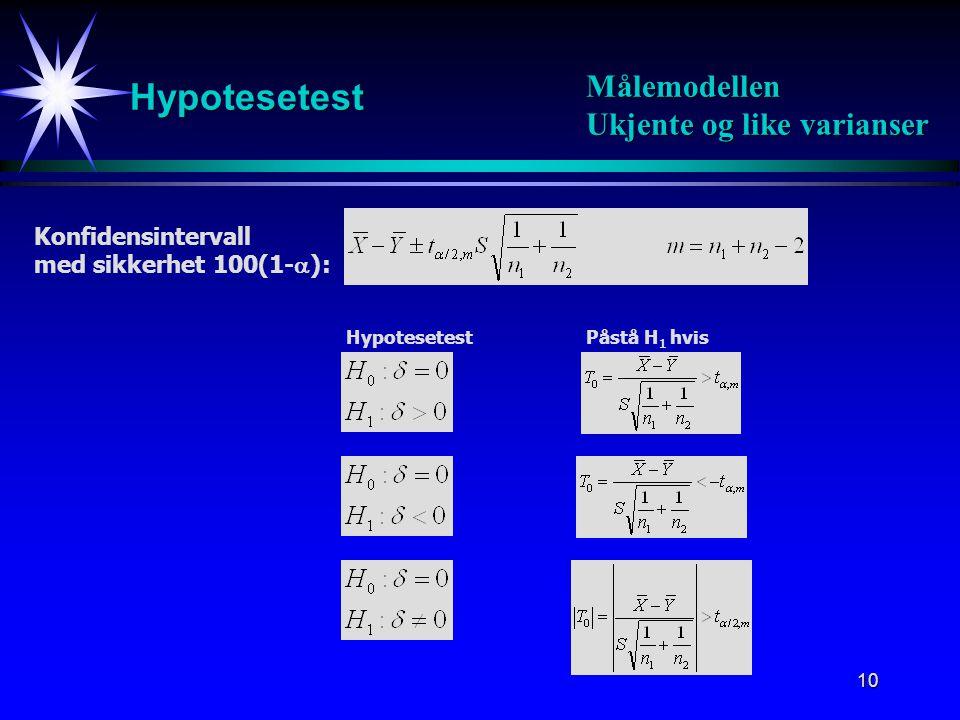 Hypotesetest Målemodellen Ukjente og like varianser Konfidensintervall