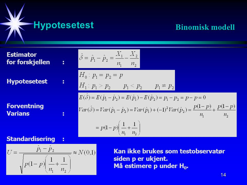 Hypotesetest Binomisk modell Estimator for forskjellen :