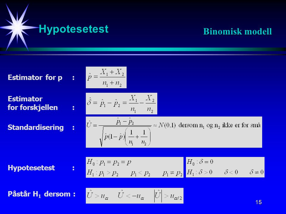 Hypotesetest Binomisk modell Estimator for p : Estimator