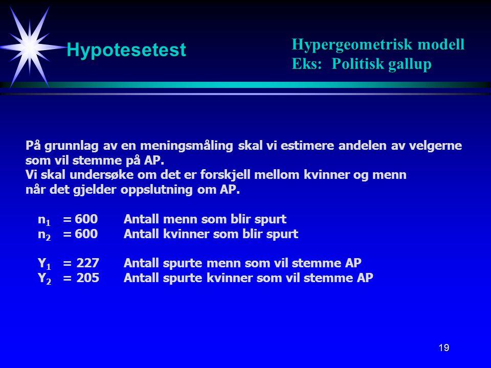 Hypotesetest Hypergeometrisk modell Eks: Politisk gallup