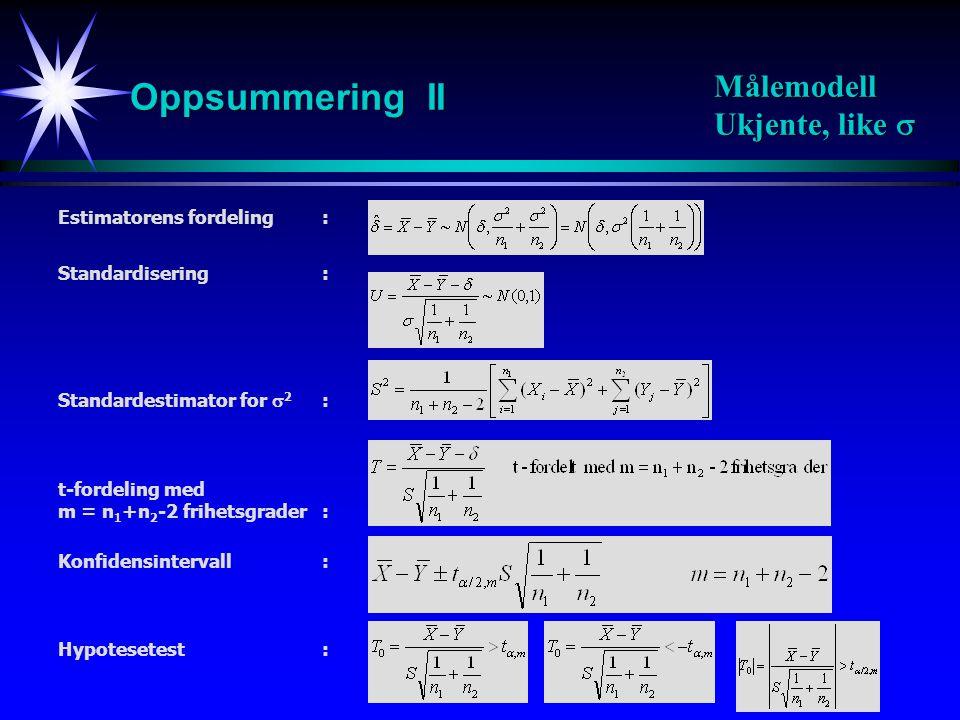 Oppsummering II Målemodell Ukjente, like  Estimatorens fordeling :
