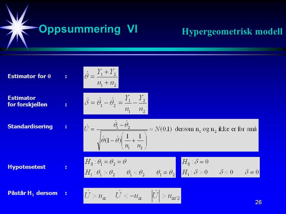 Oppsummering VI Hypergeometrisk modell Estimator for  : Estimator