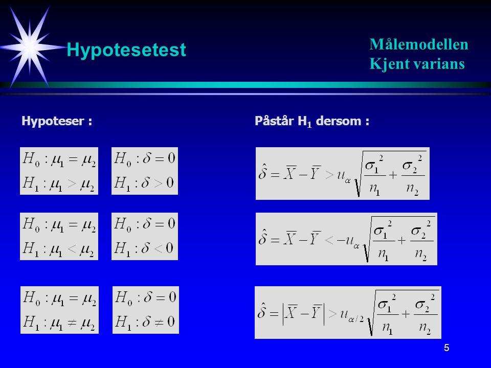 Hypotesetest Målemodellen Kjent varians Hypoteser : Påstår H1 dersom :