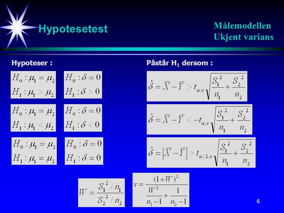 Hypotesetest Målemodellen Ukjent varians Hypoteser :